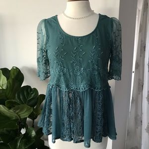 [free people] mixed media lace peplum blouse